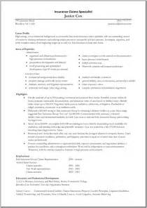Claim Adjuster Resume Objective by Insurance Claims Adjuster Resume Sle Great Resume