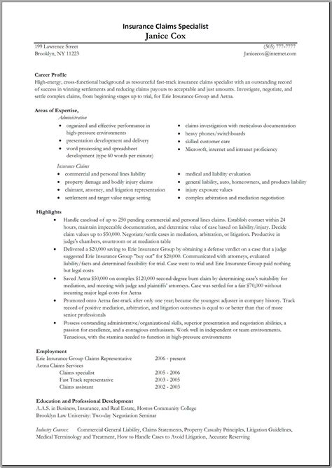 Insurance Resume Sle by Insurance Specialist Resume Sle Slebusinessresume