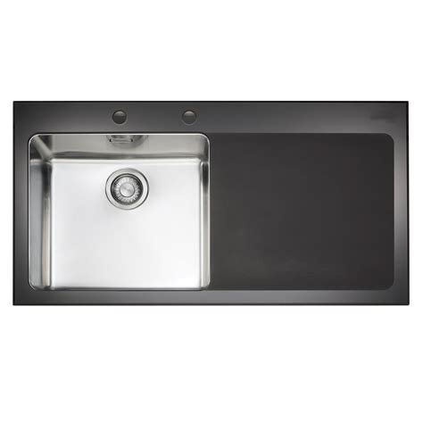 b q sinks kitchen franke kubus 1 bowl black polished toughened glass 1415