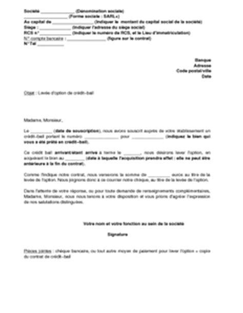 modele lettre levée d option location accession lettre de lev 233 e d option d un cr 233 dit bail mod 232 le de