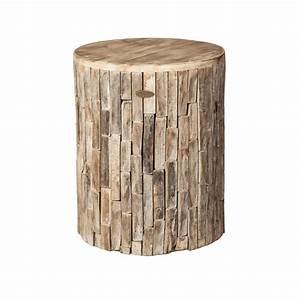 Patio sense elyse round wood outdoor garden stool 62420 for Outdoor garden stool