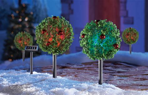 set of 2 solar lighted topiary tree outdoor