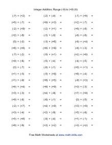 Adding Integers Worksheet with Answer Key