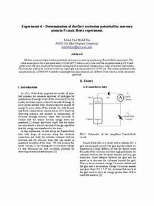 Determination Of The First Excitation Potential For