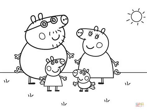 peppa pigs family coloring page  printable coloring