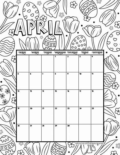 Calendar April Printable Coloring Activities Woo Jr