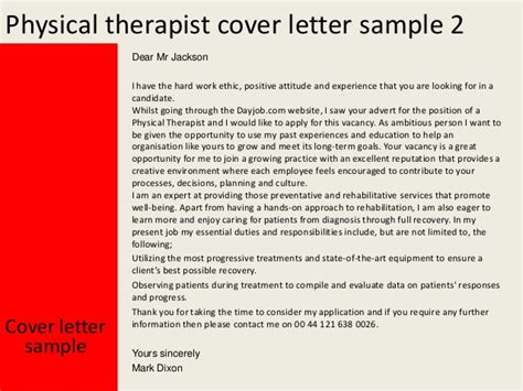 Cover Letter For A Physical Therapist by Physical Therapist Cover Letter