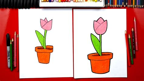 draw  tulip   pot plant  flower day art