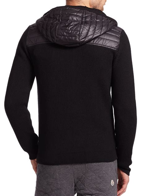 moncler sweater moncler maglione mixed media zip sweater in black for