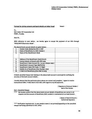 bank details letter template fill