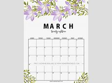 freeprintableMarch2018calendar00 Home Printables