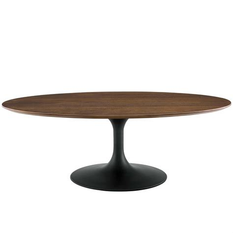 """Here, you can find stylish outdoor coffee tables that cost less than you thought possible. Modterior :: Living Room :: Coffee Tables :: Lippa 48"""" Oval-Shaped Walnut Coffee Table in Black ..."""