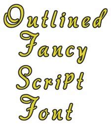 outlined fancy script font  great notions home format