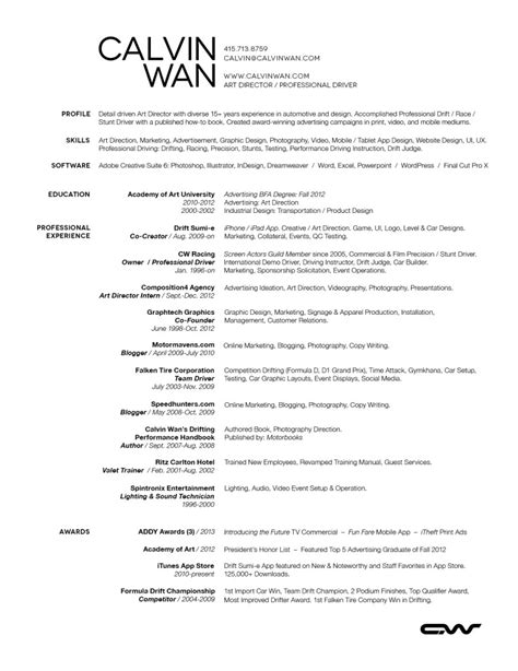 Creative Resume Sle by Creative Director Fashion Resume 28 Images Creative