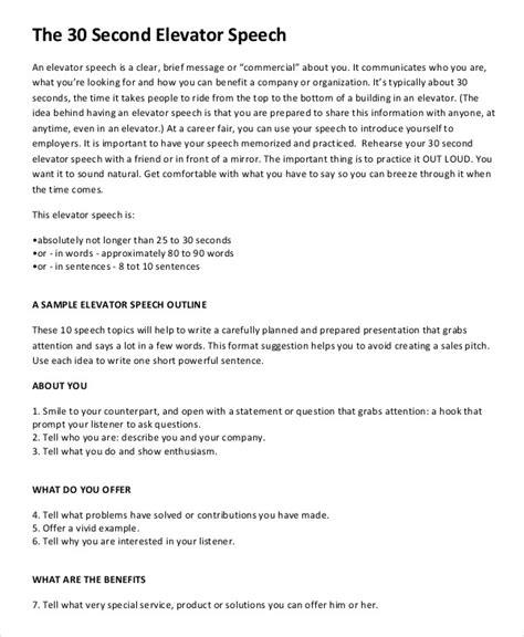 30 second elevator speech template elevator speech exles 9 free word pdf documents free premium templates