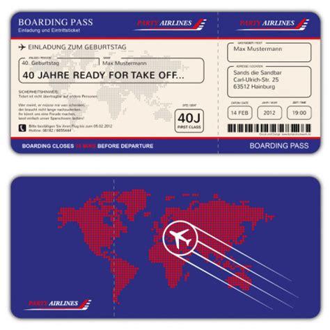 boarding pass einladungskarten jetzt  gestalten