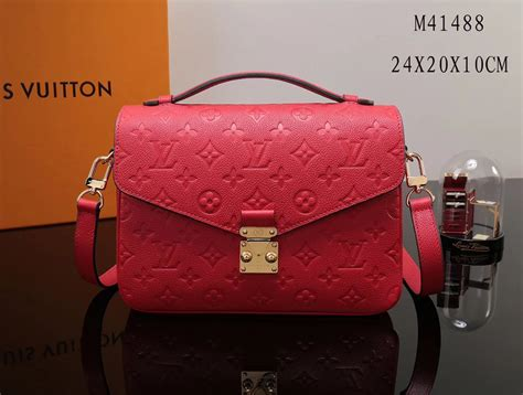 replica lv louis vuitton pochette metis shoulder bag  monogram leather handbag red lv