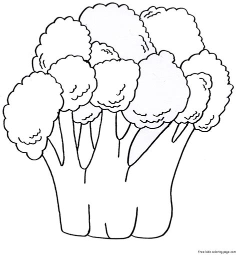 Coloring Vegetables by Coloring Book Pages Fruits Vegetables Broccoli Print