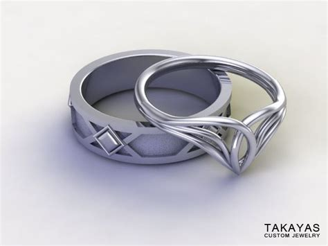 lord of the rings inspired elven wedding ring set rings