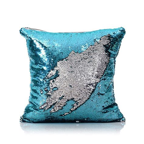 mermaid pillow cover bluesilver change color sequins