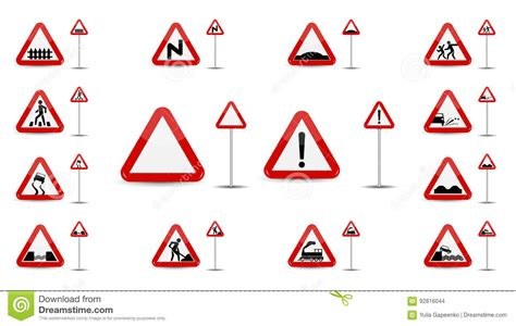 Set Of Sign Warning. In Red Triangle Is A Sketchy