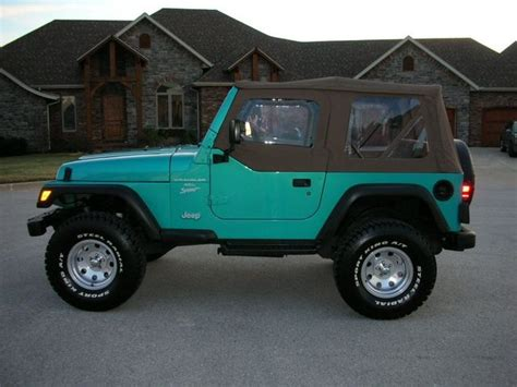 white and teal jeep beautiful 1994 teal wrangler i just love teal with black
