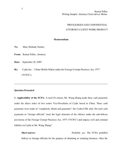 Writing sample: Attorney Client advise Memo
