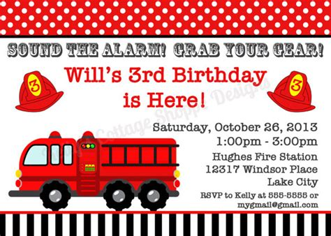 printable fire truck birthday invitations