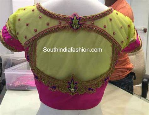 embroidered net blouse designs south india fashion