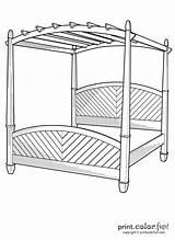 Bed Canopy Gazebo Template Furniture Coloring Pages Easy Printcolorfun sketch template