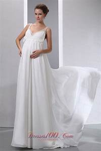 simple a line v neck maternity wedding dress brush train With simple maternity wedding dresses