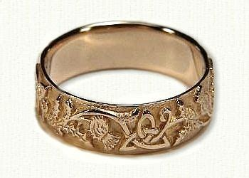 celtic thistle knot  straight edges wedding band