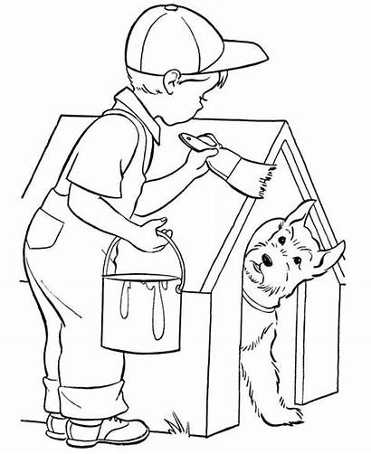 Coloring Dog Paint Kid Pages Painting Sheets