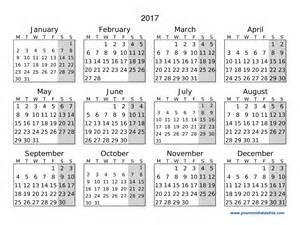 2017 Calendar Printable Monday
