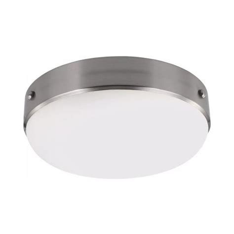low ceiling light with circular opal glass shade brushed