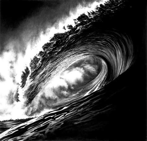photorealistic charcoal drawings of epic waves my modern met