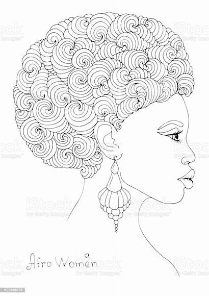 Afro African Coloring Portrait Curly Magnificent Hairstyle