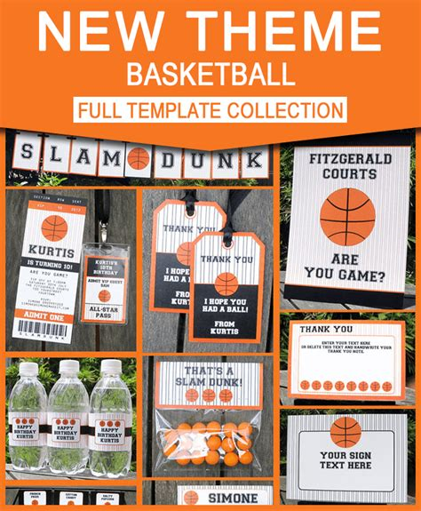 basketball ticket invitation printable party collection