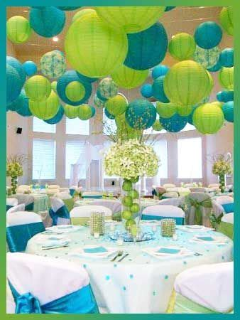 turquoise and lime green decor would love the lanterns