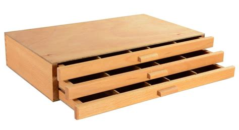 wooden artist box 3 drawers box for supplies