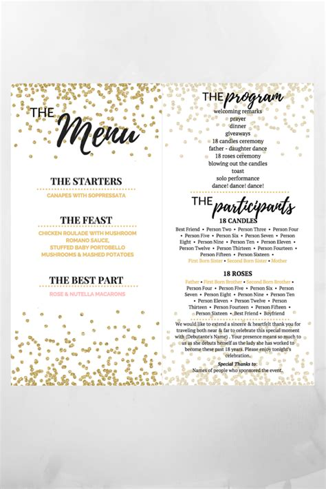 debut menu  debut program filipino debut debut