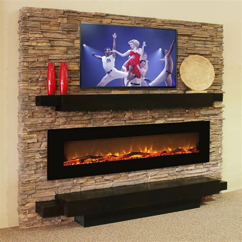 hide your television when not in use by building this tv lift oakland 72 inch log linear wall mounted electric fireplace