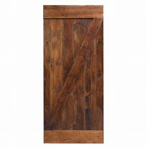 calhome 36 in x 84 in dark coffee knotty pine sliding With 38 inch barn door
