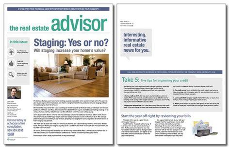 real estate newsletter templates real estate advisor newsletter template volume 3 issue 1