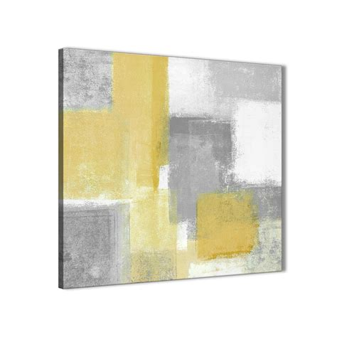 mustard yellow grey kitchen canvas wall decorations abstract 1s367m 64cm square print