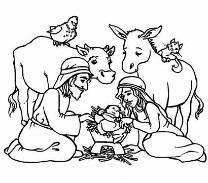 Jesus Coloring Pages Christmas Religious Christian Born