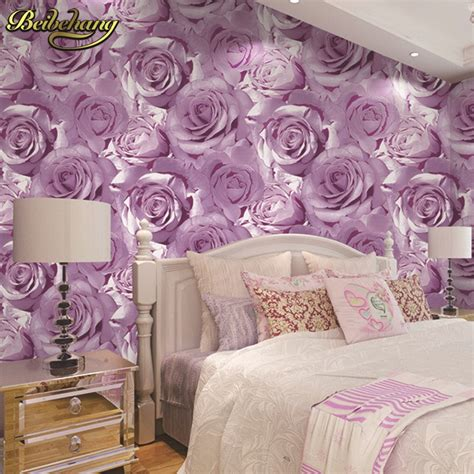 beibehang thickened waterproof red rose background wall