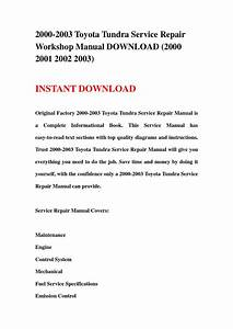 2000 2003 Toyota Tundra Service Repair Workshop Manual