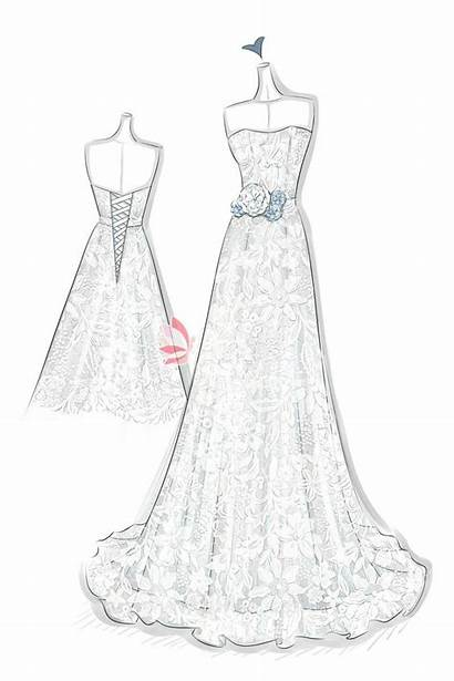 Lace Sketches Line Gown Drawing Floral Dresses