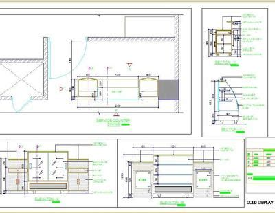 cold food display counter design autocad dwg plan  design